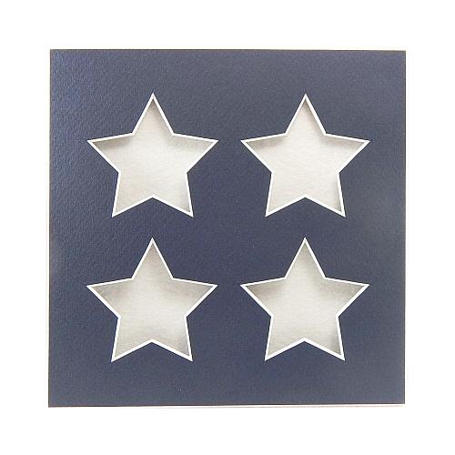 Passepartout 4 Ausschnitte Sterne, nachtblau, Rückseite offen