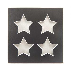 Passepartout 4 Ausschnitte Sterne, schwarz, Rückseite offen