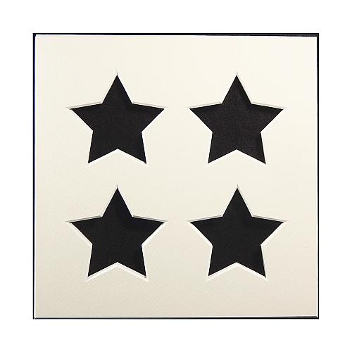 Passepartout 4 Ausschnitte Sterne, weiß, Rückseite offen