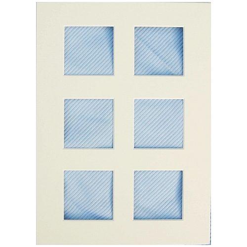 Passepartout mit 6 Ausschnitte in weiß, blau und schwarz in der Klöppelwerkstatt erhältlich, zum klöppeln, sticken, occhi, Nadelspitze, in weiß