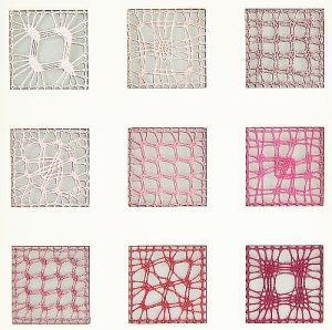 Passepartout 9 Ausschnitte geklöppelt 9 Spinnenvariationen, eigener Entwurf Klöppelwerkstatt, Detail