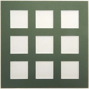 Passepartout 9 Ausschnitte Rückseite geschlossen grün