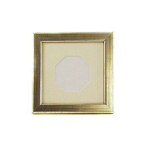 Passepartout achteckiger Ausschnitt PP mit Rahmen in gold