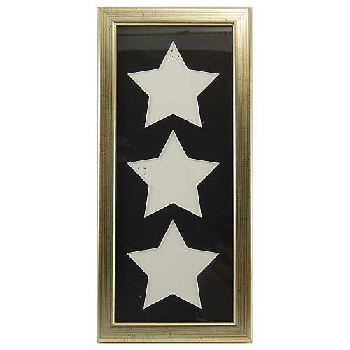 Passepartout inclusive Rahmen 3 Ausschnitte Sterne in gold