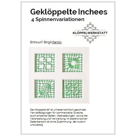 gekloeppelte Inchees-4 Spinnenvariationen, Klöppelbrief entworfen von Birgit Sarzio, Klöppelwerkstatt