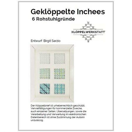 Geklöppelte Inchees 6 Rohrstuhlgründe, Klöppelbrief, eigener Entwurf in der Klöppelwerkstatt
