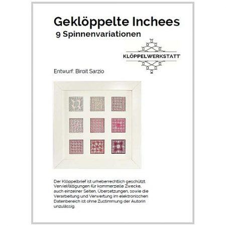 Geklöppelte Inchees 9 Spinnenvariationen, Klöppelbrief, eigener Entwurf in der Klöppelwerkstatt