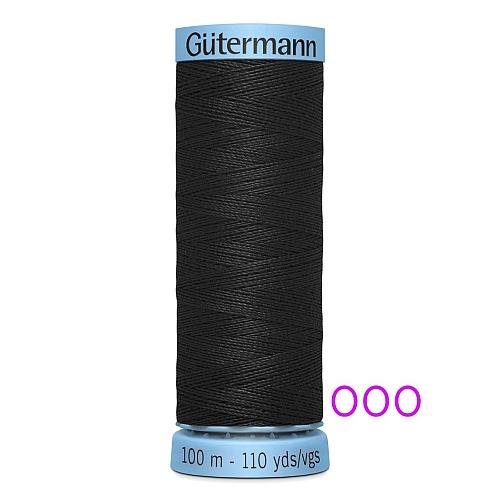 Gütermann Seide S303, Seidengarn auf der 100m Spule Farbe 000 schwarz, , in der Klöppelwerkstatt erhältlich und sehr gut zum klöppeln, häkeln, quilten, nähen, für Patchwork und Kumihimo geeignet.