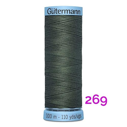 Gütermann Seide S303, Seidengarn auf der 100m Spule Farbe 269, in der Klöppelwerkstatt erhältlich und sehr gut zum klöppeln, häkeln, quilten, nähen, für Patchwork und Kumihimo geeignet.