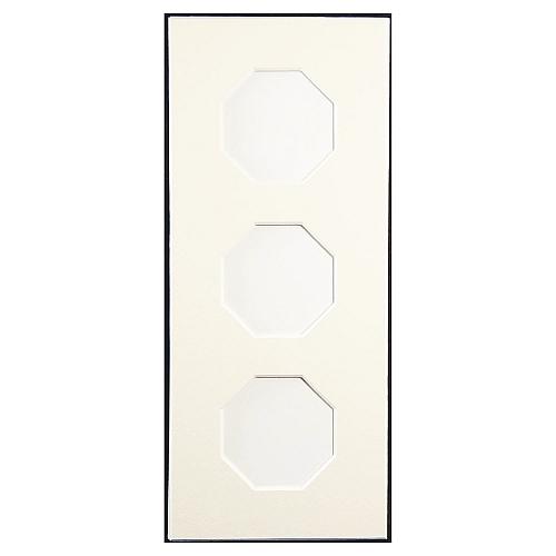 Passepartout 3 Ausschnitte achteckig, weiß, 10 x 24 cm, geschlossene Rückseit
