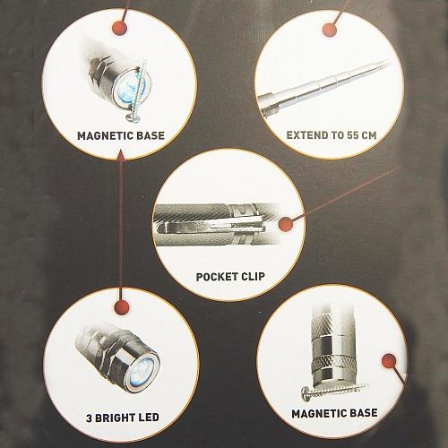 Flexible LED-Lampe mit Nadel-Magnet und Teleskop, Infos zum Artikel