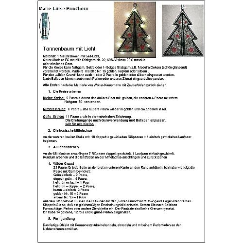 Klöppelbrief Tanne mit LED-Beleuchtung ~ M.L. Prinzhorn in der Klöppelwerkstatt erhältlich