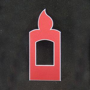 Deko-Passepartout Kerze in rot Rückseite offen