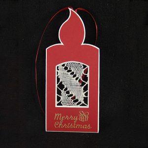 Deko-Passepartout Kerze in rot Rückseite offen mit Spitze