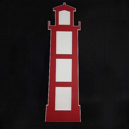 Deko-Passepartout Leuchtturm rot Rückseite geschlossen