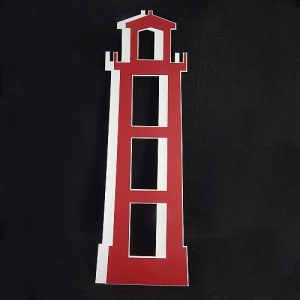 Deko-Passepartout Leuchtturm rot offen 2 Hälften