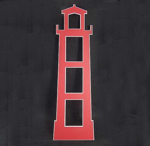 Deko-Passepartout Leuchtturm rot ückseite offen