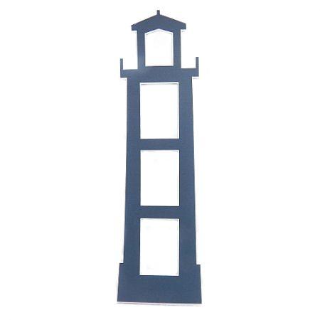 Deko-Passepartout Leuchtturm blau Rückseite geschlossen