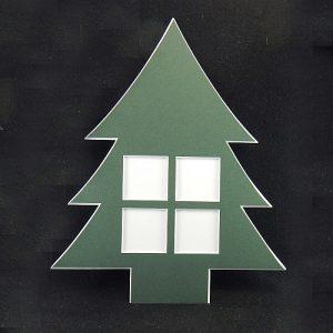 Deko-Passepartout Weihnachtsbaum 4 Quadratische Ausschnitte