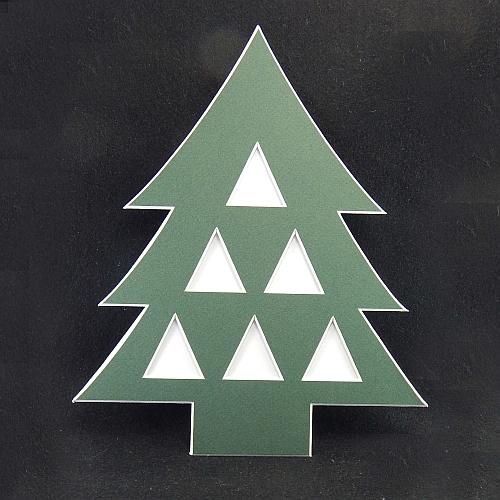 Deko-Passepartout Weihnachtsbaum 6 dreieckige Ausschnitte