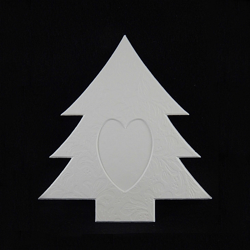 Deko-Passepartout Tanne L, weiß, Rückseite geschlossen - Klöppelwerkstatt, klöppeln, Weihnachten, sticken, Nadelspitze