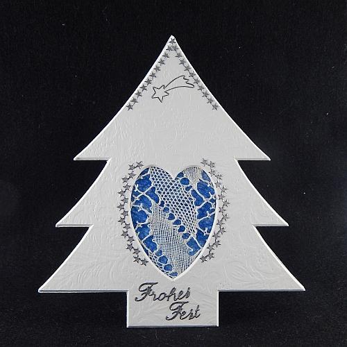 Deko-Passepartout Tanne L mit geklöppelter Spitze - Klöppelwerkstatt, klöppeln, Weihnachten, sticken, Nadelspitze