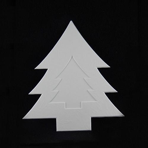 Deko-Passepartout Tanne L, weiß, Rückseite geschlossen- Klöppelwerkstatt, klöppeln, Weihnachten, sticken, Nadelspitze