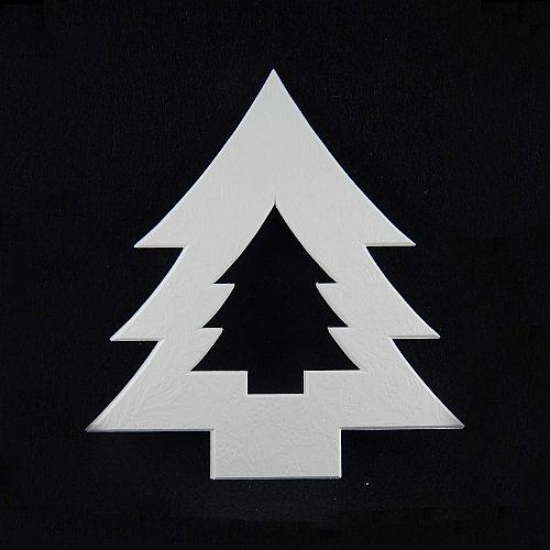 Deko-Passepartout Tanne L, weiß, Rückseite offen - Klöppelwerkstatt, klöppeln, Weihnachten, sticken, Nadelspitze