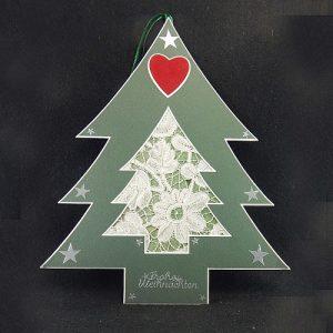 Deko-Passepartout Weihnachtsbaum mit Spitze
