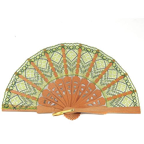 Fächer Modell Soria & Brief Torchonspitze 17, geklöppelter Fächer in der Klöppelwerkstatt erhältlich