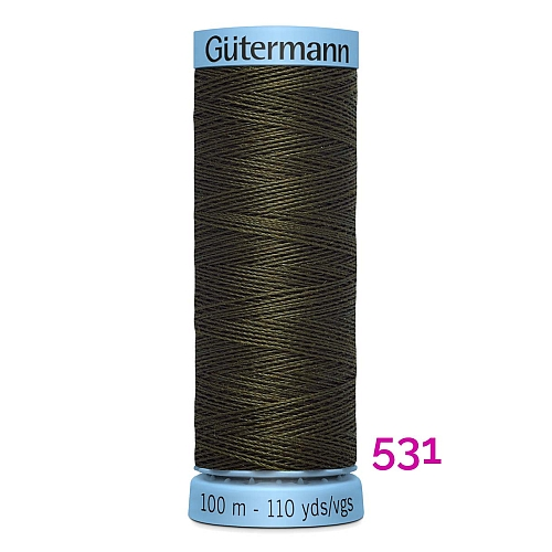 Gütermann Seide S303, Seidengarn auf der 100m Spule Farbe 531, in der Klöppelwerkstatt erhältlich und sehr gut zum klöppeln, häkeln, quilten, nähen, für Patchwork und Kumihimo geeignet.