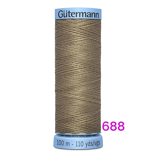 Gütermann Seide S303, Seidengarn auf der 100m Spule Farbe 688, in der Klöppelwerkstatt erhältlich und sehr gut zum klöppeln, häkeln, quilten, nähen, für Patchwork und Kumihimo geeignet.