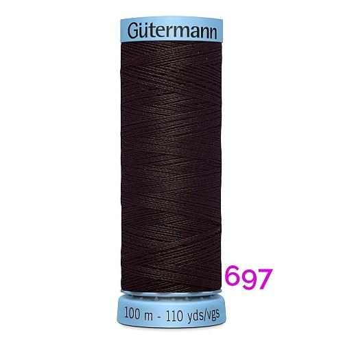 Gütermann Seide S303, Seidengarn auf der 100m Spule Farbe 697, in der Klöppelwerkstatt erhältlich und sehr gut zum klöppeln, häkeln, quilten, nähen, für Patchwork und Kumihimo geeignet.