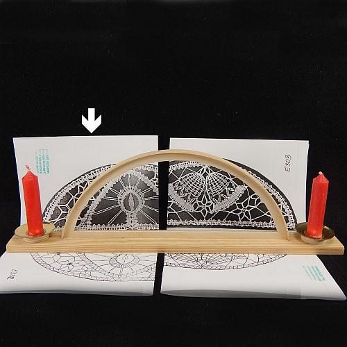 Set Leuchter mit 2 Kerzen und Klöppelbrief Kerze