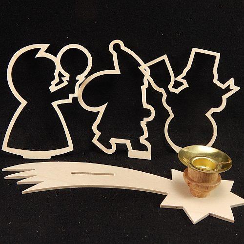 Set Leuchter Schweifstern mit Rahmen und Klöppelbrief 3 Motive