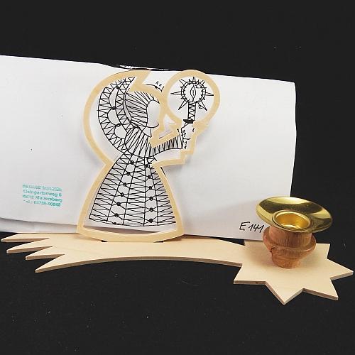 Set Leuchter Schweifstern mit Rahmen und Klöppelbrief Engel