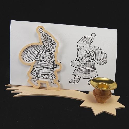 Set Leuchter Schweifstern mit Rahmen und Klöppelbrief Nikolaus