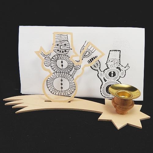 Set Leuchter Schweifstern mit Rahmen und Klöppelbrief Schneemann