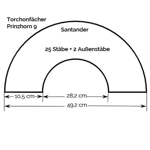 Fächer Modell Santander, Zeichnung, Größenangabe, in der Klöppelwerkstatt