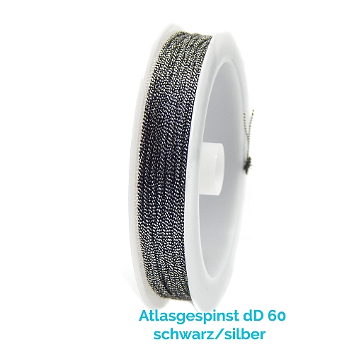 Atlasgespinst dD 60 in schwarz-silber 10 m Spule