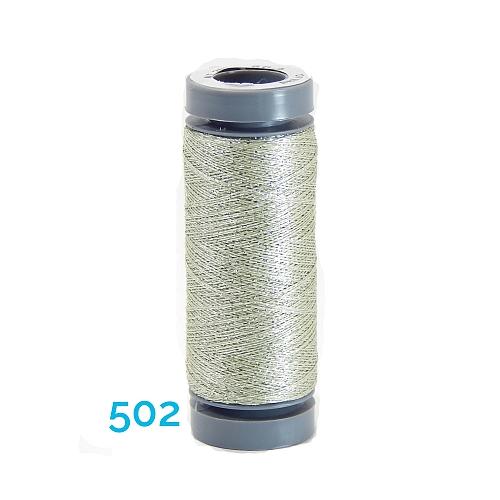 AURIFIL - Brillo - Glitzergarn Farbe Nr. 502, Effektgarn, Glitzergarn, Metallic, Stickgarn, in der Klöppelwerkstatt erhältlich