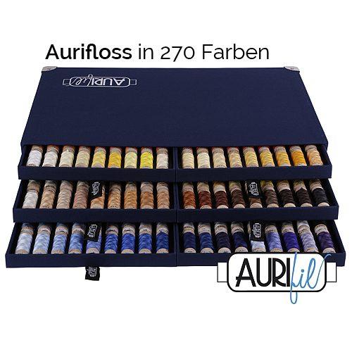 AURIFLOSS ~ Stickgarn in 270 Farben in einer Sammelbox, Minispulen mit 4,3g, teilbares Baumwollgarn zum Sticken, Klöppeln, Nähen, Patchwork in der Klöppelwerkstatt.
