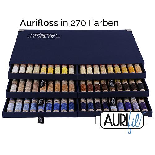 AURIFLOSS ~ Stickgarn in 270 Farben in einer Sammelbox, Minispulen mit 4,3g