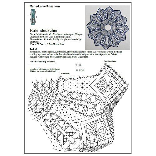 Klöppelbrief Eulendeckchen ~ M.L. Prinzhorn