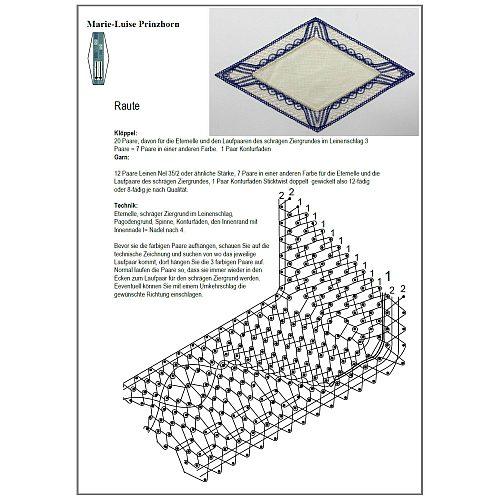 Klöppelbrief Anhäkelform Rhombus ~ Marie Luise Prinzhorn, in der Klöppelwerkstatt erhältlich, anhäkelformen in verschiedenen Farben.