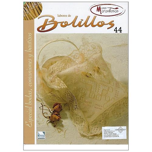 Labores de BOLILLOS Nr. 44, eine spanische Zeitschrift, Klöppelbriefe zu unterschiedlichen Themen, wie Torchon, Schals, Fächer, Taschen, Bänderspitze, usw. in der Klöppelwerkstatt erhältlich.