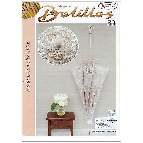 Labores de BOLILLOS Nr. 59, eine spanische Zeitschrift, Klöppelbriefe zu unterschiedlichen Themen, wie Torchon, Schals, Fächer, Taschen, Bänderspitze, usw. in der Klöppelwerkstatt erhältlich.
