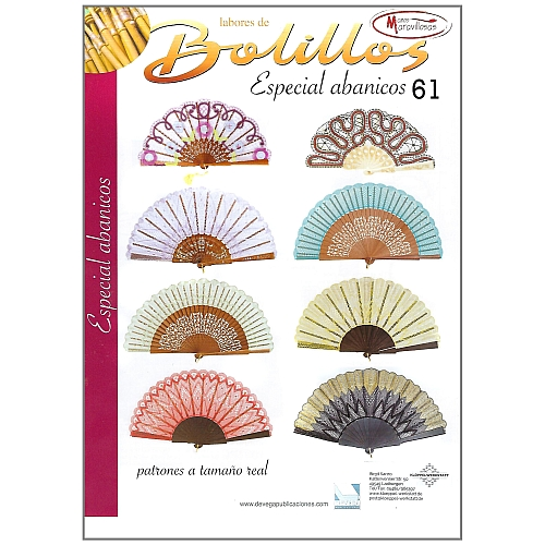 Labores de BOLILLOS Nr. 61, eine spanische Zeitschrift, Klöppelbriefe zu unterschiedlichen Themen, wie Torchon, Schals, Fächer, Taschen, Bänderspitze, usw. in der Klöppelwerkstatt erhältlich.