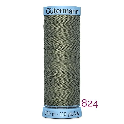 Gütermann Seide S303, Seidengarn auf der 100m Spule Farbe 824, in der Klöppelwerkstatt erhältlich und sehr gut zum klöppeln, häkeln, quilten, nähen, für Patchwork und Kumihimo geeignet.