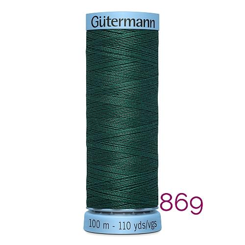 Gütermann Seide S303, Seidengarn auf der 100m Spule Farbe 869, in der Klöppelwerkstatt erhältlich und sehr gut zum klöppeln, häkeln, quilten, nähen, für Patchwork und Kumihimo geeignet.